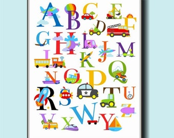 Alphabet Transportation Nursery Wall Art 11x14 - Cars, Trucks, Boats, Planes, and More