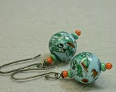 Vintage Chinese Blue Dragon Porcelain Bead Earrings, Turquoise, Coral Glass,Sterling Silver