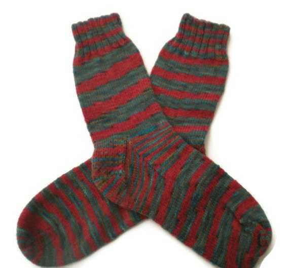 Socks - Hand Knit Men's Red, Brown and Blue Striped Socks