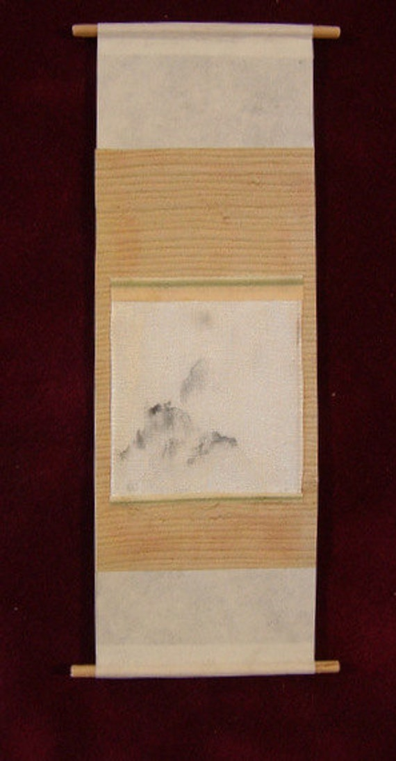 Hand painted dollhouse miniature scroll painting, Rain Forest, 1 1/2 in. x 4 1/2 in.