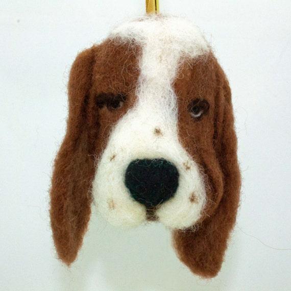 Needle Felted Dog Basset Hound Wool  Ornament