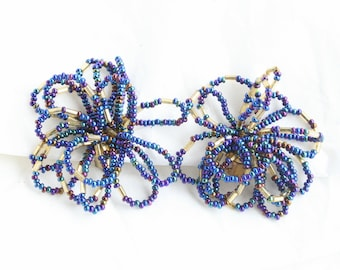 Blue Purple Beaded Earrings Cha Cha Art Deco Carnival Glass Big Bold Clip On