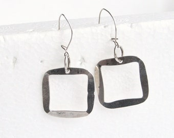 Vintage Silver Square Hoop Pierced Earrings Modernist Dangles