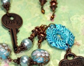 To Open the Secret Keyhole all you Need is Love Bold Necklace Lampwork Beads 2 Keys 1 Lock Long Opera Length Blue Pearl MATCHING Earrings