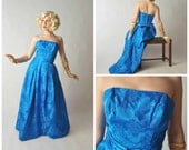 LAST CHANCE Vintage 1950s Party Dress - Rose Brocade Formal Gown in Brilliant Blue