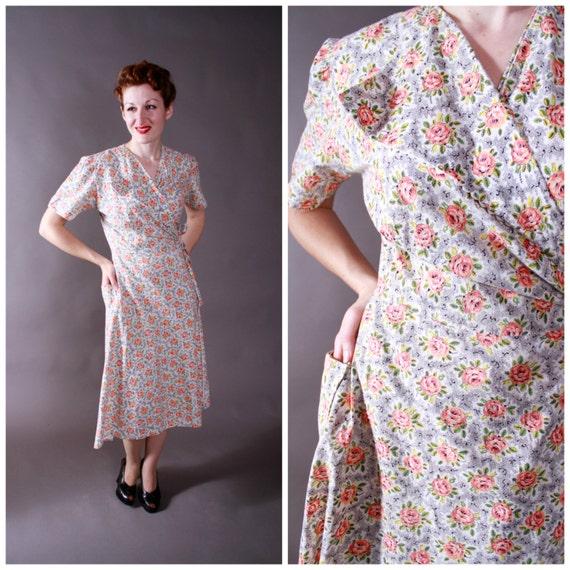 Vintage 1940s Dress Late 40s Homemade Cotton Wrap Dress