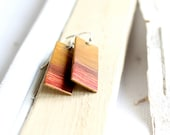 Red Yellow Drop Dangle Patina Earrings Mustard Ombre Gradient Sunset Geometric Textured Rectangle Fashion Jewellery