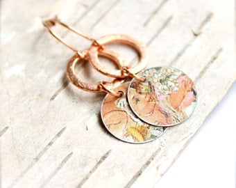 SALE - Cherub Floral Dangle Drop Earrings Vintage Tin Copper Handmade Boho Jewellery Eco-friendly