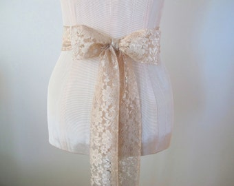 Lace Sash, Champagne Light Taupe Nude Wedding Sash, Lace Belt by ccdoodle on etsy