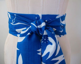 Obi Belt in Cobalt Blue Teal and White Hawaiian Barkcloth Vintage Fabric by ccdoodle on etsy - made to order