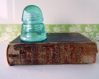 Vintage Glass Insulator Beehive Blue Green Industrial Home Decor