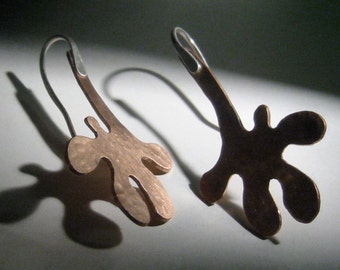 Copper Splash Drop Earrings Mixed Metal Copper and Sterling Silver One of a Kind