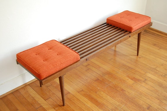 George Nelson Inspired Mid Century Modern Slatted Bench With