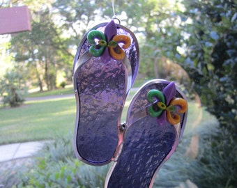 Fleur de Lis Purple Flipflop Suncatcher