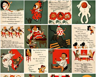 Vintage Mother Goose Nursery rhymes clip art for childrens 2 inch SQUARES digital collage sheet
