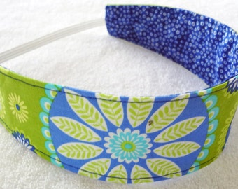 Cotton headband navy blue lime aqua flowers dots reversible, baby toddler girl  teen sport danse party favor gift gifts gypsy bandana fabric