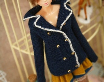 jiajiadoll-hand knitting-dark blue suit sweater-Night fits Momoko Or Blythe Or Misaki