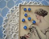 Vintage Swarovski Rhinestone Charms 7 Sapphire Blue Drops Connector 6mm
