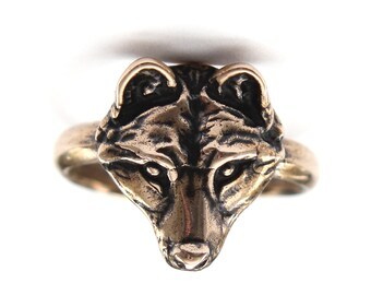 Two for One Sale....My Little Bronze Wolf Face Ring 251