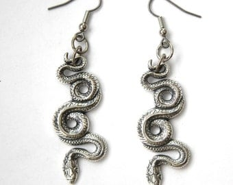 Silver Garden Snake Earrings in Solid White Bronze with Sterling Overlay 258