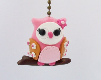 Owl Fan Pull Chain - Pink, Gold, White - Owl Nursery - Woodland Themed Room - Polymer Clay