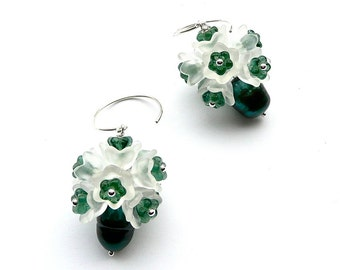 Convallaria -- Green and White Flower Dangle with Freshwater Pearl