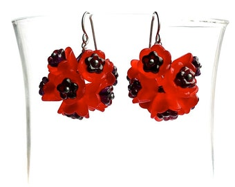 Passion -- Red Flower Dangling Earrings