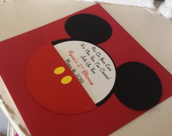 Handmade Custom Red Mickey Mouse Birthday Invitations- Set of 10 with Yellow Buttons