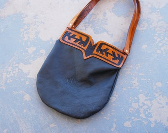Tooled Leather Purse - Navajo Inspired Geometric Shoulder Bag In Gray