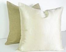 Trees Pillow Covers, Contemporary Cream Pillow, Elegant Pillows, Designer Cushions, Iridescent Shimmer, Modern Home Decor, 18x18, SALE