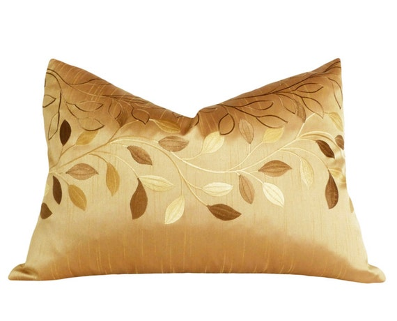 Gold Leaf Pillow Contemporary Decorative Throw by PillowThrowDecor