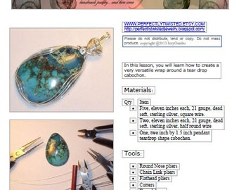 TUTORIAL, How to Make Wire Wrapped Pendants, Heart's Tear Drop Pendant, Jewelry Pattern, DIY, Learn to Make Wire Jewelry