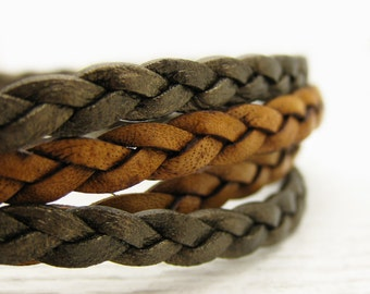 Natural Brown Eco Friendly Bangle Bracelet, Braided Leather Wrap, Unisex with Solid Sterling Silver / bohemian tribal fashion bracelet