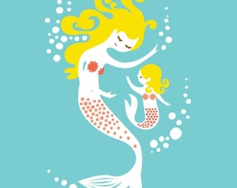 "8X10"" mermaid mother & daughter giclee print on fine art paper. teal, pink, coral, blonde."