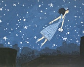 Flying Girl and the Night of Brooklyn Poetry, or Black Out. limited edition print 3/50 of original acrylic painting by Rowena Murillo