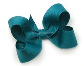 Teal Boutique Bow, 3 inch Hair Bow, Teal Bow, Jade Blue Basic Bow for Baby Toddler Girl