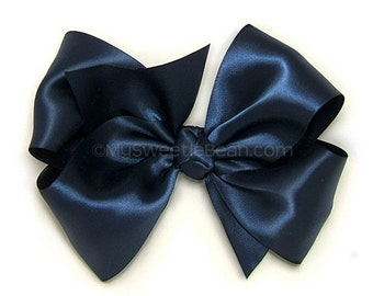 """Navy Satin Hair Bow, 6 Inch Big Satin Bow, Navy Extra Large Boutique Bow, 6"""" King Size Bow for Women, Girls Satin Bow, 60 Colors"""