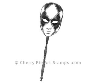 Venetian MASK on a stick nr.1 - Carnival, Mardi Gras- CLiNG RuBBer STAMP by Cherry Pie Art Stamps
