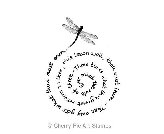 The Witches Rule of three - dragonfly - CLiNG Rubber STAMP by Cherry Pie Art Stamps