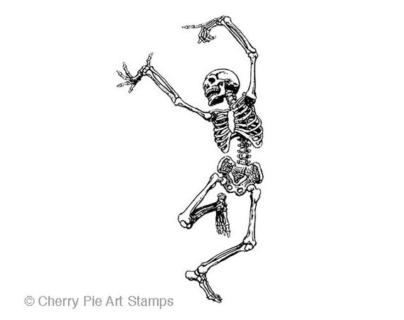 DANCING SKELETON- CLiNG RuBBer STaMP by Cherry Pie Art Stamps