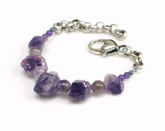 Amethyst Crystal and Bead Bracelet, Stones & Chain Cuff, Raw Stone Purple Bracelet, WillOaks Studio Original Bracelet, Stacked Stones Series