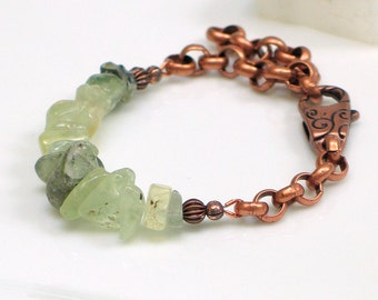 Prehnite Large Green Raw Stone Nuggets Bold Chain Statement Cuff, Fully Adjustable Gift for Her, Artisan Handmade, Stacked Stones Series