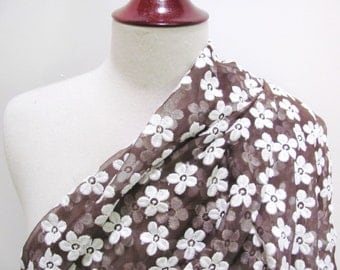 60's Silk Organza with Embroidery, White Daisy Pattern on Chocolate Brown, 1960s Vintage Fashion Fabric, Sheer Couture Yardage, 1 yard