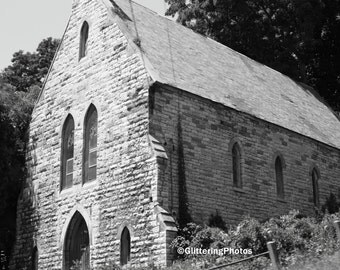 Abandoned, Gothic, Church, Fonda, New York, Fine Art, Photography, Print, in Black & White