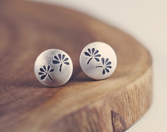 Tiny posts - studs - earrings - sterling silver - flowers - stamped - etsymetal team
