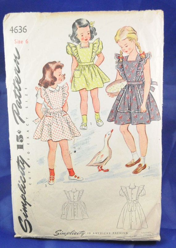 Simplicity 4636 - Darling Girls 1940s Vintage PInafores, Dresses, Aprons, SO CUTE - Alice in Wonderland