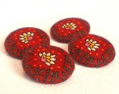 Fabric Covered Buttons - Red Garden - 4 Medium Fabric Buttons - Yellow and White Flowers and Tendrils