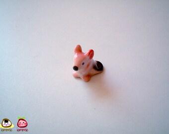 Miniature Ceramic Mouse, mouse figurine, mouse figure, ceramic animal, tiny animal, small animal, tiny mouse, hamster, mice, pink, orange