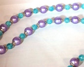 "Metallic Purple Blue Long Necklace,  Blue Crackle, Antiqued Silver Caps,  32"" Long or Doubled as Choker"