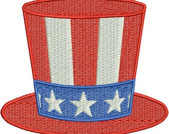 Hat Fourth 4th of July Stars Stripes Filled Machine Embroidery Design 4x4 and 5x7 Instant Download